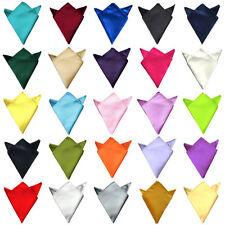 Men's Wedding Solid Colour Silky Satin Pocket Square Handkerchief Hanky Formal