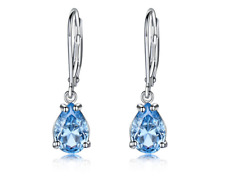 Solid 925 SSilver White Gold Plated Clip Earrings Nano Sky Blue Topaz Gemstone