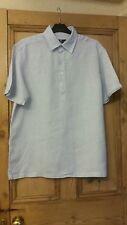 Blue Harbour mans cooldown linen shirt aqua blue lilac white stripes size M