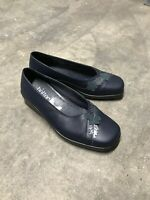 Hotter Navy Blue Leather Slip On Square Toe Shoes Size Brand New B36