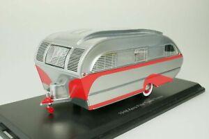NEO 1/43 1948 Aero Flite Falcon Travel Trailer Camper Red / Silver RESIN 47260