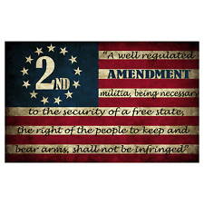 Second Amendment Written on Flag Sticker 5x3 Inch 2nd 2A Constitution Decal