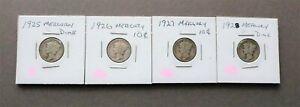 ** 1925-P ~ 1926-P ~ 1927-P ~ 1928-P  Mercury Dimes ** Silver Coins ** Pink Lot