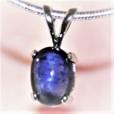 BEAUTIFUL 8mmX 6mm OVAL CABOCHON  SAPPHIRE & STERLING - PENDANT  2.10cts.