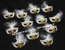 12 PC MINI VENETIAN MASK FAVORS QUINCEANERA 15 RECUERDOS MASQUERADE WHITE/GOLD