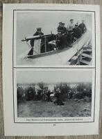 Blatt 1914-18 Motorboot + Maschinengewehr MG Technik Uferwache Soldaten 1.WK