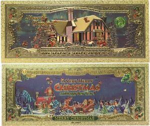 Merry Christmas Currency X-Mas Santa Holidays $2 Gold Foil Note Stocking Stuffer