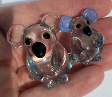 Hand Blown Lampwork Chubby Glass Koala Bear Mom And Baby Miniature Figurine