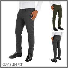 Pantalone da uomo slim fit chino elegante elasticizzato invernale 52 verde guy