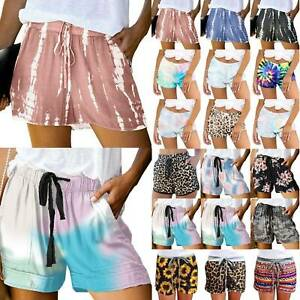 Ladies Elastic Waist Drawstring Hot Pants Ladies Summer Holiday Casual Shorts US