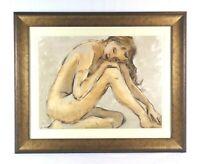 Vintage Modern Art Print of Beautiful Nude Woman in Frame