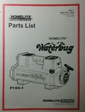 Homelite Waterbug P100-1 Pump Parts Manual 8pg Pond Water Fire Jacobsen Textron