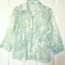 Coldwater Creek Pretty Sheer Blouse SzPS Blue-Grn-White abstract floral 3/4 slv