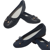 Leather Bow Ballerina Shoes Wide E Fit New Heavenly Soles Black Colour Footwear