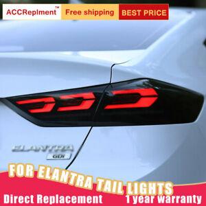 For Hyundai Elantra LED Taillights Assembly Dark LED Rear Lamps 2016-2018