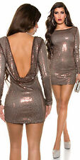 Women Sequin Bodycon Dress Chocolate Brown With Cowlback Size 10