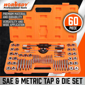 60Pc Tap And Die Set Metric Imperial Screw Screwdriver Thread Drill Pitch Gauge