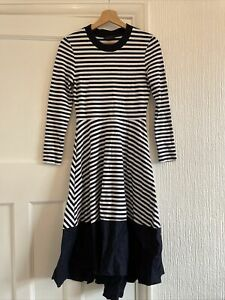 Cos Navy & White Striped Midi Dress Size XS