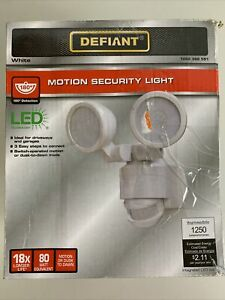 Defiant 180 Degree White Motion Activated Outdoor LED Twin Head Flood Light