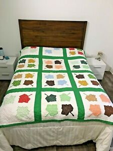 Quilt Blanket Tablecloth Autumn Fall Leaves 78x57 Decorative Bedspread Crafts