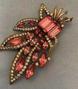 Vintage Eisenberg Original Sterling Pink & Clear Rhinestone Fur Clip Broach Pin