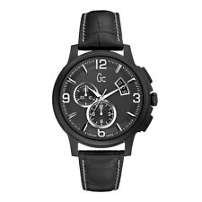BRAND NEW GUESS COLLECTION GC X83006G2S BLACK LEATHER BAND STEEL CASE MENS WATCH
