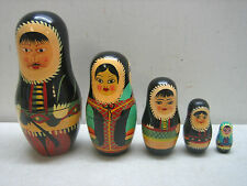 Hand Painted Wood Russian Nesting Doll Dolls Set 5 Nests Eskimo Family W/Baby