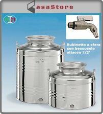 Contenitore Bidone Fusto Olio Acciaio Inox 50 litri MADE IN ITALY