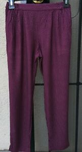 Girls Lands End Kids Plum White Polka Dot Viscose Rayon Pants Size Sm 7-8 Yr $40