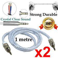 2 1m Strong AUX Auxiliary Cable 3.5mm Male to Male Stereo Audio Input extension