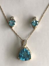 10k Solid Yellow Gold Blue Topaz Diamonds Earrings & Pendant Set