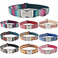 Personalized Dog Collar Custom Engraved ID Name Buckle Samll Medium Large Dogs