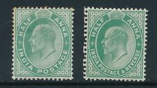 INDIA, 1902 ½A green, 1906 ½A green very fine mounted mint