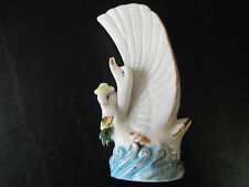 "VINTAGE 5 1/2"" HP PORCELAIN TWO(2) SWAN FLOWER VASE ""FANTASTIC DETAILS/COLORS"""