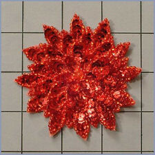 RED  SEQUIN BEADED FLOWER APPLIQUE  2408-A