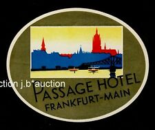 Passage Hôtel Francfort GERMANY * Old Luggage label valise Autocollant