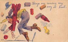 Comic Pun~Things Coming My Way at Last~Man Bowled Over: Bricks~Fork~Rolling Pin