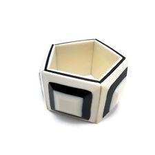 Vintage Lucite Bracelet Stretch Elastic Black White Square Layer Oreo Pentagonal