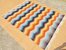 5'x8' Zig Zag Flat Weave Reversible Kilim Pure Wool Hand-Woven Colorful Area Rug