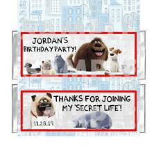 Personalized SECRET LIFE OF PETS BIRTHDAY PARTY candy bar wrappers FREE FOILS