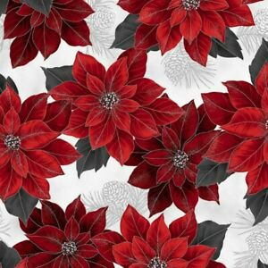 Hoffman Joyful Traditions Holiday Poinsettia Cotton Quilt Fabric by the 1/2 Yard