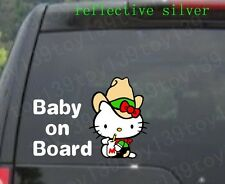 The cowboy Hello Kitty / BABY ON BOARD / car funny Vinyl  Decal Sticker