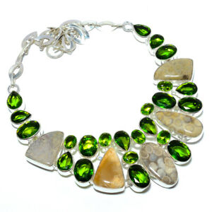 """Fossil Coral - Australia & Peridot 925 Sterling Silver Necklace 17.99"""" S2686"""