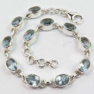 925 Sterling Silver Co Jewelry Natural BLUE TOPAZ Gemstones Bracelet FINE