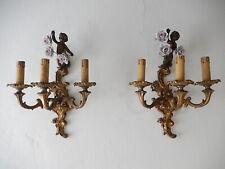 ~1930's French Cast Bronze Cherub Bows & Porcelain Roses Sconces~