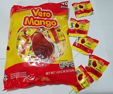 Mexican Vero Mango Paletas Chile Chili Mango Flavor Hard Candy Lollipops 40 Pcs