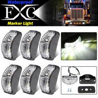 6 X LED Clearance Lights Side Marker Lamp White Trailer Truck Caravan Multi Volt