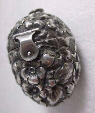 Sterling Floral Egg ETUI hallmarked George W. Shiebler ;Original Antique,c1900's
