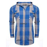 New Men Casual Hooded Long Sleeve Plaid Shirt Jacket with Pockets EHE8 01