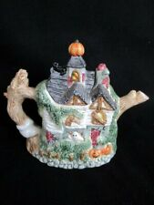 Fitz & Floyd Omnibus Halloween Haunted House Embossed Teapot 40 Oz